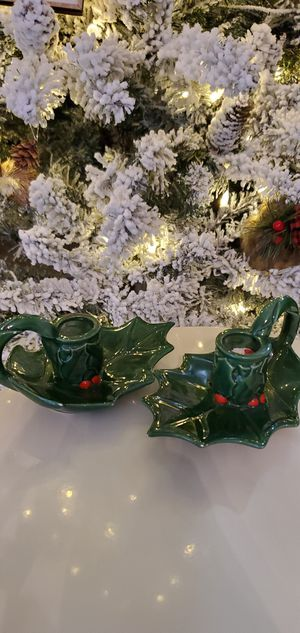 Vintage Ceramic Christmas Candlestick Holders for Sale in Goodyear, AZ