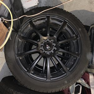 Snow Tires - 225/45R18 and Black Steel Wheels for Sale in Providence, RI