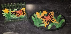 Cast Iron Butterfly Pot Holder And Napkin Holder set for Sale in Ravenna, OH