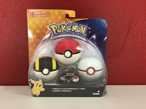Pokemon Throw 'N' Catch Poké Ball 3 Pack for Sale in North Miami, FL