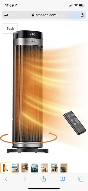 """TaoTronics PTC Space Heater, 1500W Fast Heating Ceramic Tower Fan Heater, 24"""" High Oscillating Portable & Quiet with Remote ECO Mode 12H Timer Tip-Ov for Sale in Coppell, TX"""