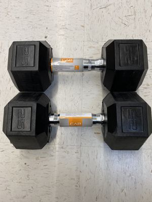 CAP Set of (2) 25 lb Barbell Coated Hex Dumbbells total of 50 lbs for Sale in Fremont, CA