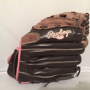 "Rawlings Fastpitch Softball Glove LHT 11"" ESBL2 pink lettering for Sale in Griffin, GA"