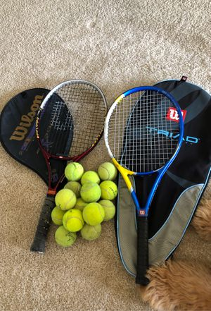 2 WILSON TENNIS RACKETS WITH BALLS & CASES for Sale in Marina del Rey, CA