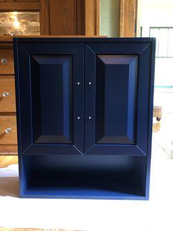 Dark blue wall mounted cabinet storage shelf for Sale in Detroit,  MI