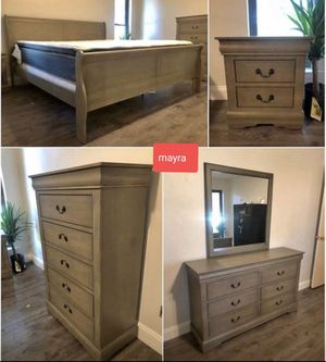 □SPECIAL. Gray bedroom set. Dresser mirror nightstand bed frame chest queen full twin.. brand new. Delivery available for Sale in Katy, TX