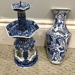 Porcelain vase and candle holder for Sale in Washington, DC