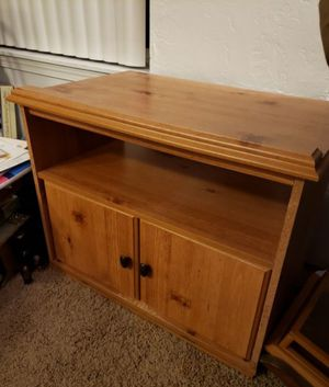 Rotating Wood Entertainment Stand w/ Cabinets for Sale in Tigard, OR