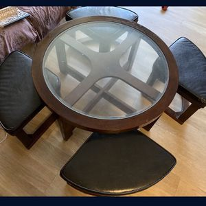 Table With Glass Top And 4 Seats With Cushion for Sale in Boulder, CO