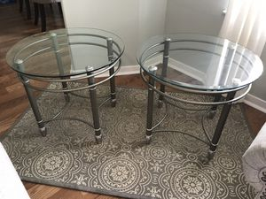 2 End Side Tables Glass & Nickel For Home Decor for Sale in Spring, TX
