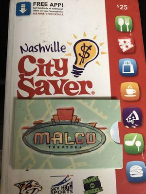 Malco movie theater Gc Value $50 for Sale in Nashville, TN
