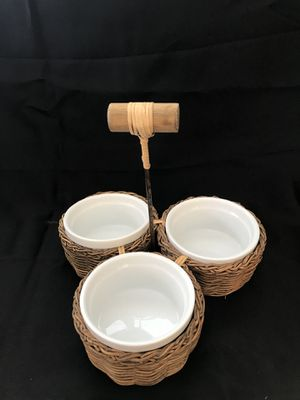 PIER 1 IMPORTS Condiment Holder, 3 Sections, Basket Weave Wicker/Glass for Sale in Eau Claire, WI