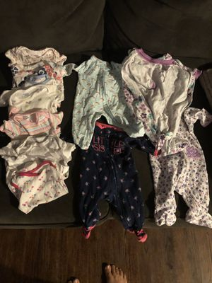 Baby 0-3 footed sleepers zip up and short sleeve onesies for Sale in Fresno, CA
