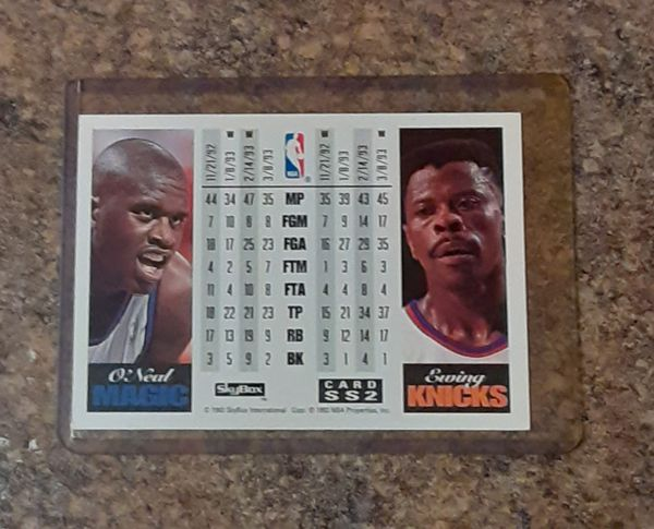 Vintage Patrick Ewing New York Nicks vs Shaquille O'Neal Orlando Magic Collector's Card