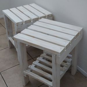 """24""""H X 20""""W X 20""""D (5 Planks) 🌱(2 Pcs./Set) Solid Wood Sofa Side Table with Shelf ::: Rustic Distressed White for Sale in Las Vegas, NV"""