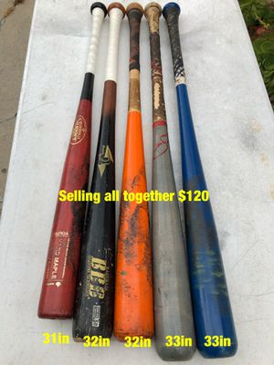 Wood baseball bats equipment selling together for $120 for Sale in Los Angeles, CA