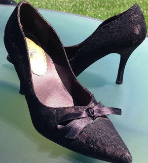 SAM & LIBBY Dark Chocolate Brown Lace Covered Satin Pointy Toe Stiletto Pumps Women's Heels 7.5M for Sale in Paris, KY