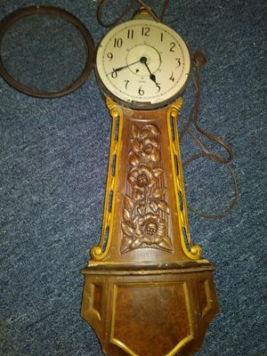Antique Sangamo hand carved wood Anchor clock glass face opens up you can see in pic for Sale in Essington, PA