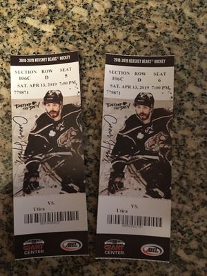 Two club seats to Hershey bears for Sale in Greencastle, PA