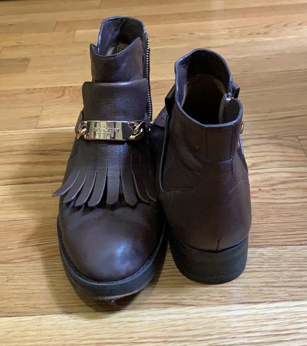 Coach 'Eagle' Brown Leather Fringe Bootie