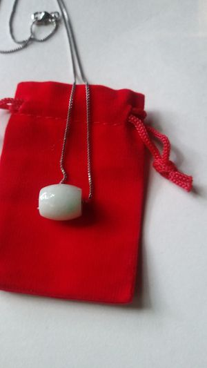 """Amulet lucky charm pendant natural green jade jadeist silver 925 short chain 18"""" for Sale in Richmond, CA"""