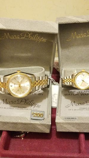VINTAGE MARC PHILIPPE DESIGNER HIS AND HER DIAMOND WATCHES WITH for Sale in Fort Belvoir, VA
