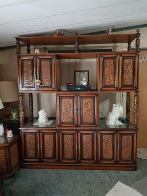 Teakwood oriental carved antique furniture. Wall unit and coffee table and 2 end tables. for Sale in Murfreesboro, TN