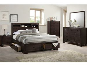Queen Bed Frame with Bookcase and 4 Drawers Brand New for Sale in Anaheim, CA