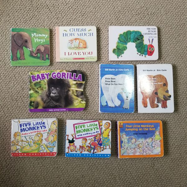 Set of 9 Animal board books including Eric Carle and others.