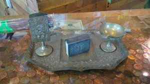 Antique 4 pieces brass cigar desk set for Sale in Kissimmee, FL