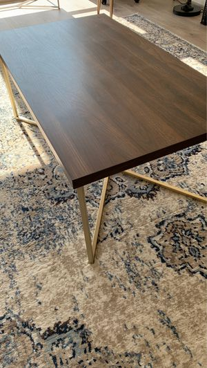 Wood top coffee table, gold legs for Sale in Washington, DC
