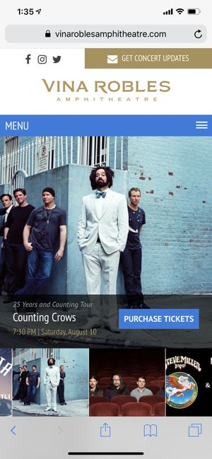 2 Tickets to Counting Crows at Vina Robles Amphitheater for Sale in Adelaide, CA