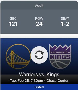 Lower level Warriors Tickets vs Kings- 2 tickets (2/25/20) for Sale in San Francisco, CA