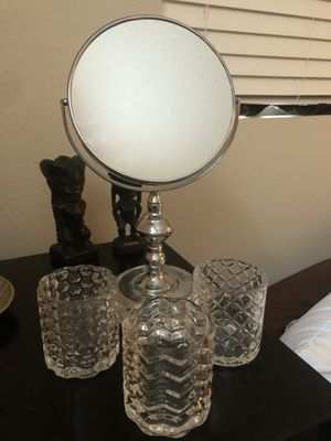 Vanity accessories Mirror and 3 makeup brush holder for Sale in Vista, CA