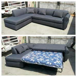 NEW 7X9FT ELITE CHARCOAL FABRIC SECTIONAL WITH SLEEPER COUCHES for Sale in Victorville, CA