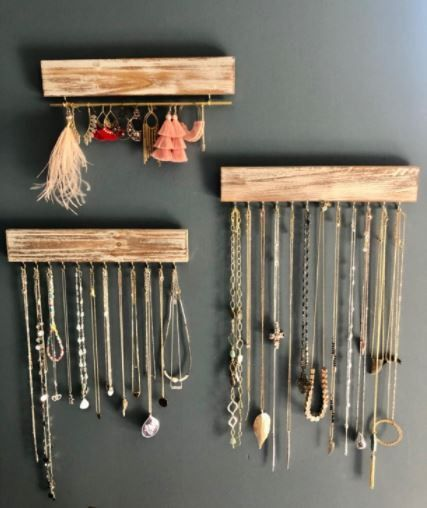 Chic & Rustic 100% Real Wood Wall Jewelry Organizers x 3