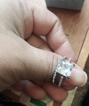 2.6CT Square Cut White Sapphire Diamond Ring Sparkling Women 925 Sterling Silver Natural Gemstone Rings Proposal Bride Engagement Wedding ring size 8 for Sale in Moreno Valley, CA