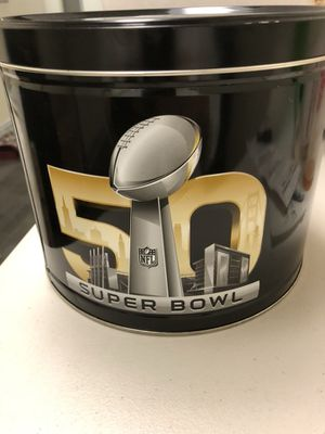 Super Bowl 50 Commemorative Popcorn Can! Peyton Manning & The Denver Broncos Win over Carolina! Peyton's Final Game! Popcorn is all gone! The Logo an for Sale in Fairfax, VA