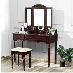 Kealive Makeup Vanity Set Vanity Desk with Cushioned Stool and Tri-Folding Mirror, Beautiful Vanity Makeup Dressing Table With 7 Drawers 6 Organizers for Sale in Los Angeles,  CA