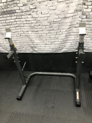 Adjustable Squat rack / bench press rack for Olympic barbell and weights for Sale in Allendale, NJ
