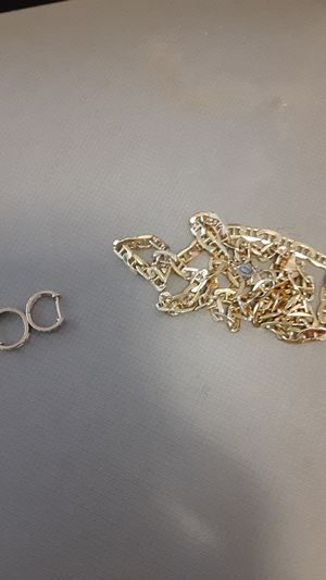10k gold over silver chain and diamond and gold earrings. for Sale in Virginia Beach, VA