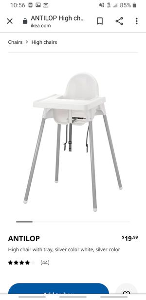 Baby White High Chair with support & cover for Sale in Seagoville, TX
