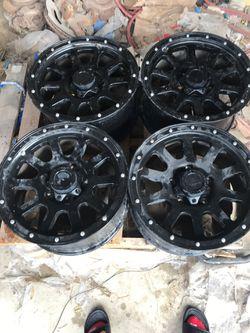 All black off road truck wheels/rims for Sale in San Antonio,  TX
