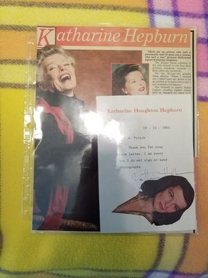 Katharine Hepburn autograph on a note she sent to this gentleman that I was given by Kate back in 1984 for Sale in New Port Richey, FL