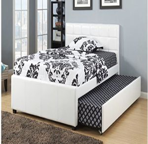 Moving sale ‼️ white leather twin bed with trundle for Sale in Buffalo, NY