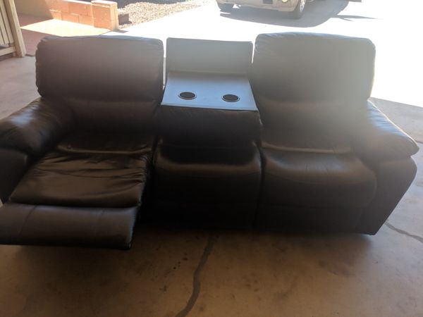 Black Leather Recliner Sofa - Nearly New