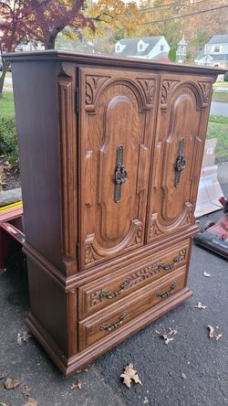 Decorated Solid Oak Armoire for Sale in Fair Lawn,  NJ