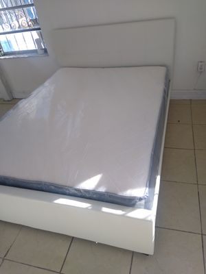 Queen size bed frame new in the box with the mattress and free delivery and free set up for Sale in Hialeah, FL