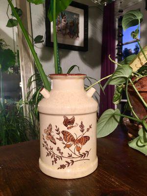 Vintage Stoneware Pottery Milk Jug Vase Boho Chic Utensil Holder Plant Base Butterfly Decor - Pick Up LA or OC for Sale in Los Angeles, CA