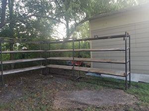 Metal shelves 16 ft long all 3.. $500 for Sale in Houston, TX
